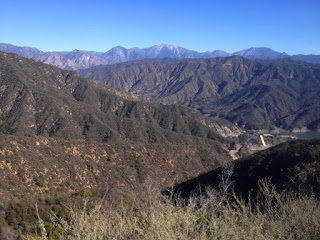 View northeast from the east ridge of Summit 2843 toward San Gabriel Canyon, Glendora Mountain, and the San Gabriel Mountains high country, Angeles National Forest