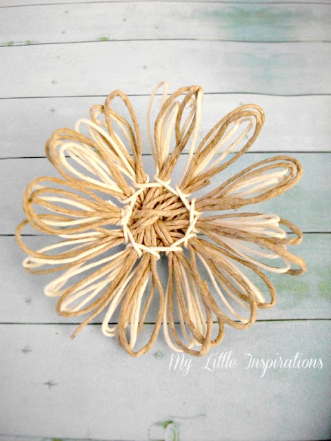 DIY Twine and raffia flowers with recycled paper leaves - Fiori di spago e rafia con foglie carta riciclata 13 - My Little Inspirations