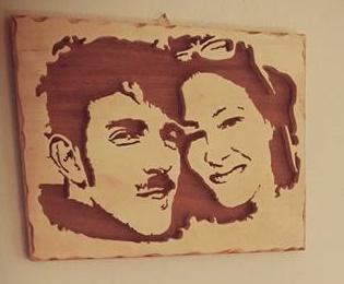 ritratto da foto in legno realizzato con seghetto da traforo elettrico