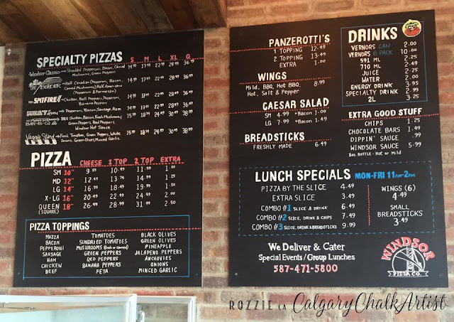 Menu Chalkboards Windsor Pizza