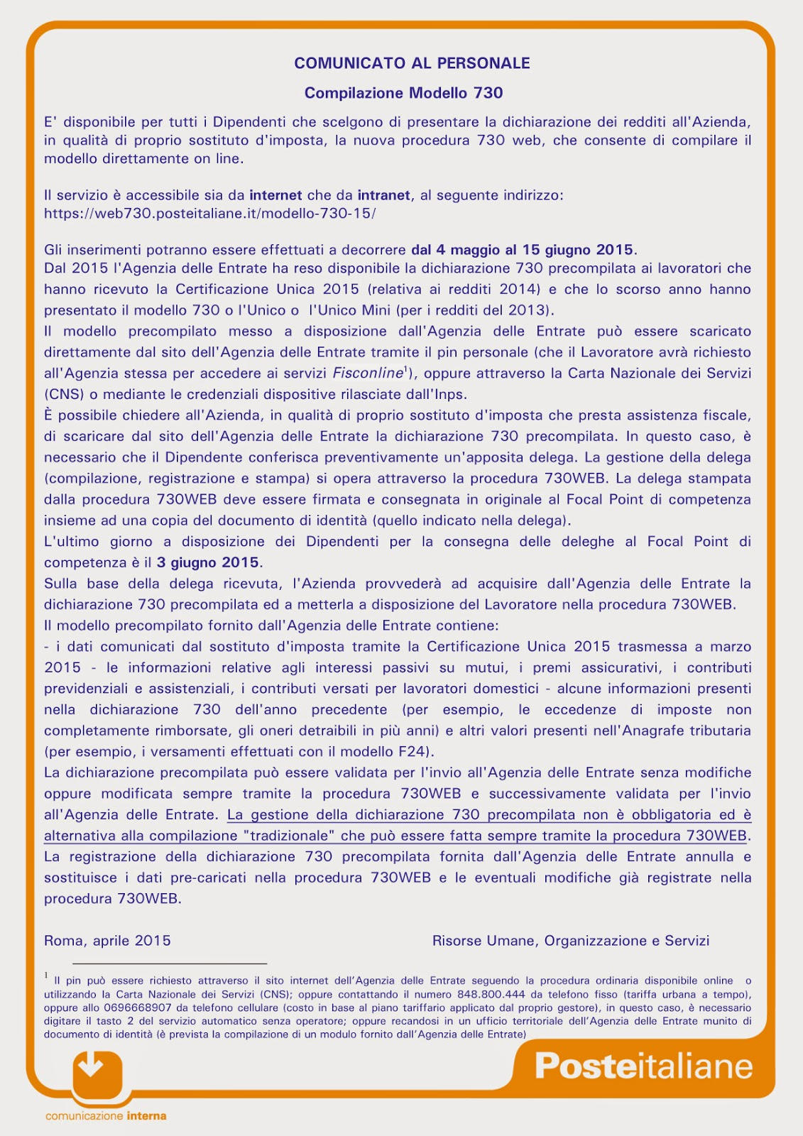 Recapito Di Roma Comunicato Al Personale Procedura 730 Web Per Chi