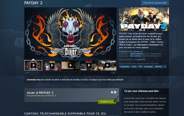 تحميل لعبة الحرب والأكشن Payday 2 مجانا من موقع Steam