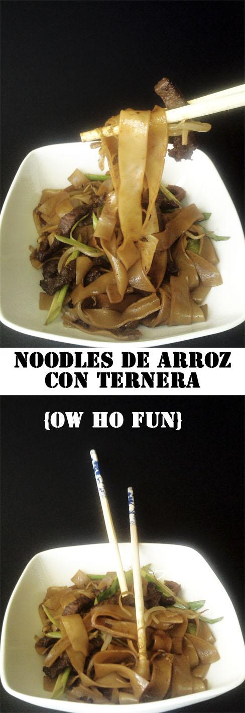 Noodles de arroz con ternera Ow ho Fun cocina receta gastronomia china pasta ternera ajetes wok