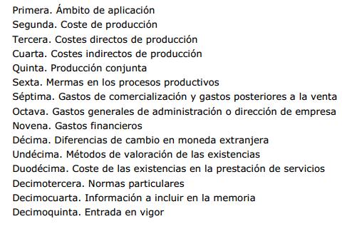 Proyecto Resolución ICAC criterios determinación coste producción