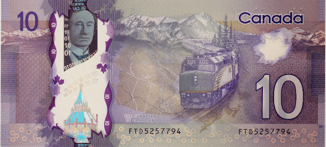 Canada money currency 10 Canadian Dollar Polymer Note 2013 Passenger Train Travel in the Canadian Rockies