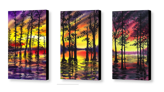 impressionistic watercolors landscape with trees