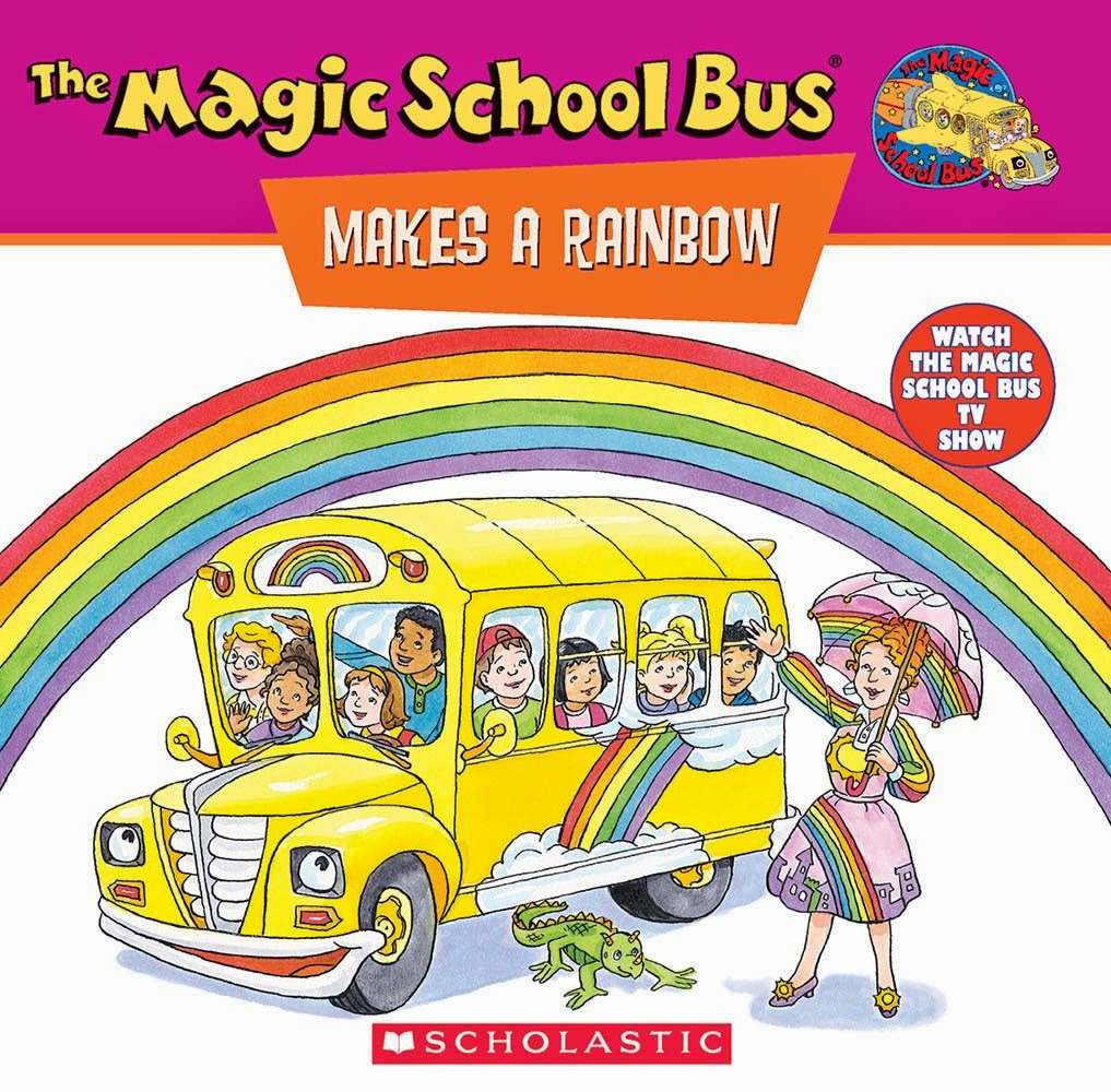 The Magic School Bus Makes A Rainbow by Joanna Cole, part of book review list about colors and rainbows