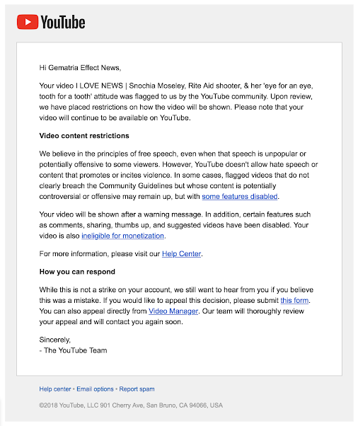 Snochia Moseley video age restricted by YouTube, October 10, 2018 Well, at least they didn't delete ...