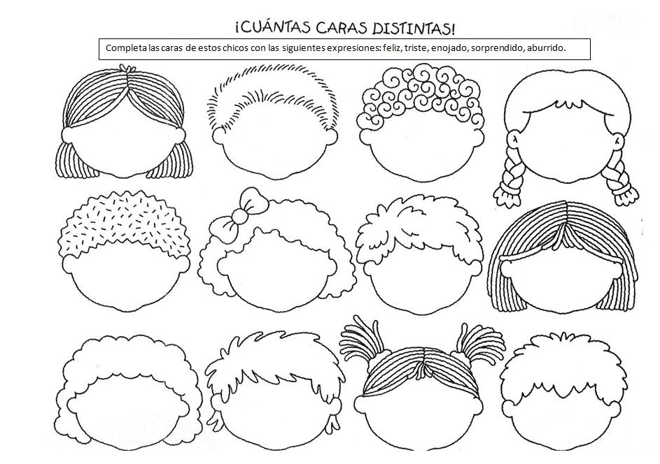 Para Niños De Dibujos Animados Caras Diferentes: Imagenes De Caritas Con Emociones Distintas
