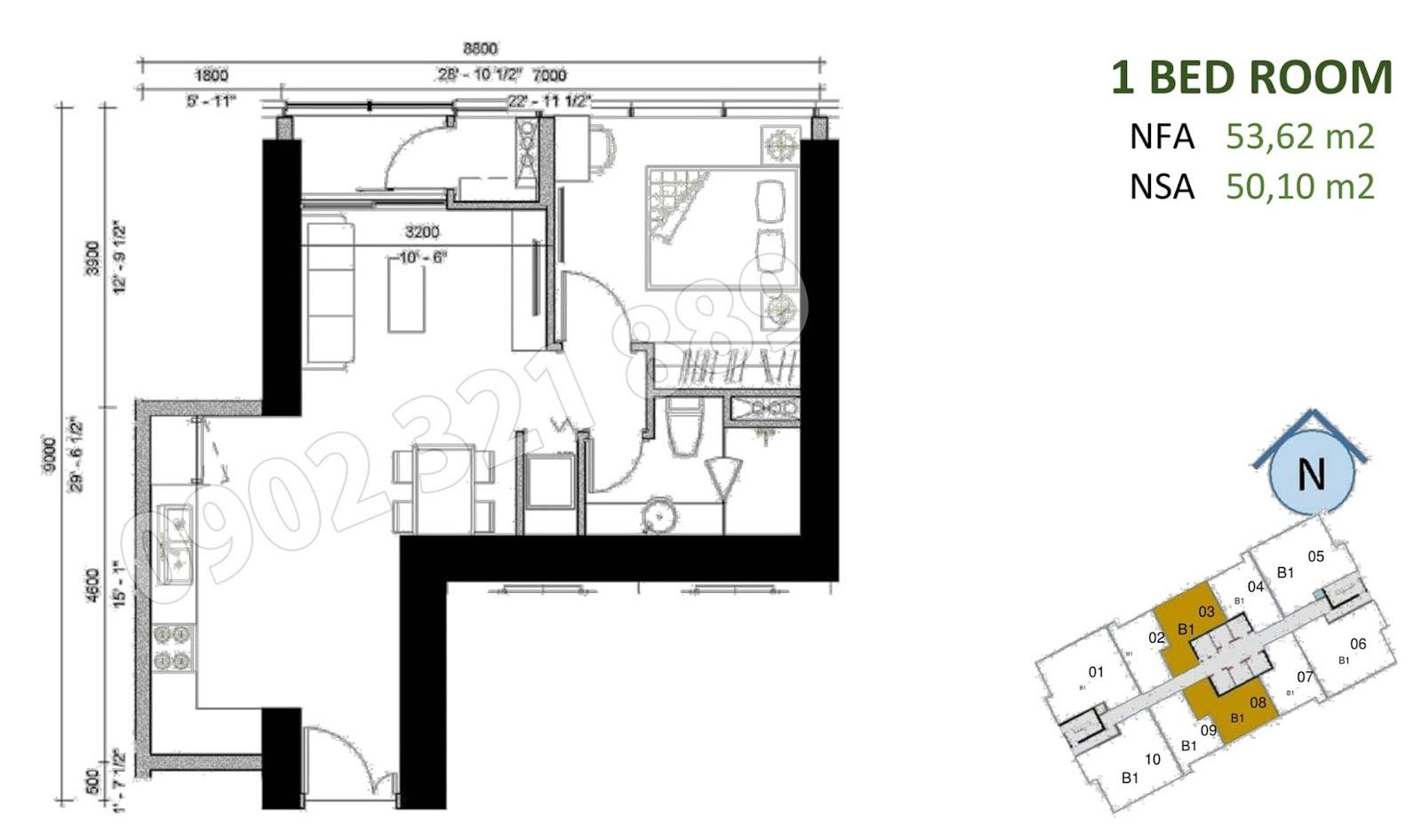 mặt bằng căn hộ sunwah pearl 1 phòng ngủ B1-03 và B1-08