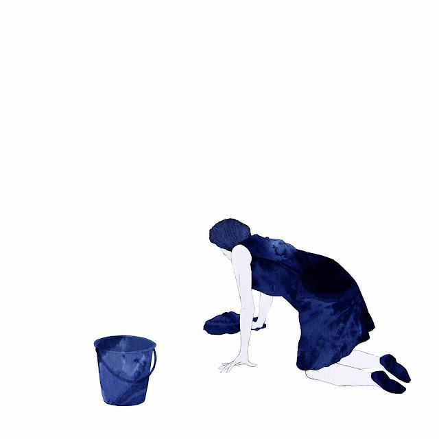 azulejo, cerámica azul, mujer, fregando