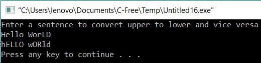 Convert Upper to Lower and Vice Vesra using Library Functions