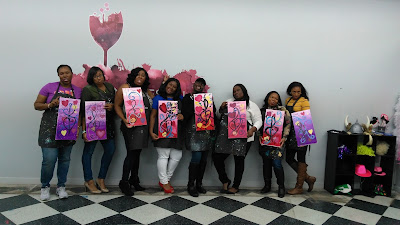 My first painting class I instructed, a party to celebrate friendship