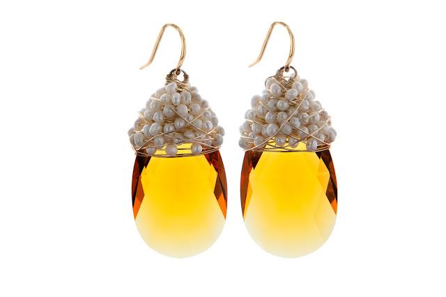 Pendientes lágrimas warovski amarilla perlas