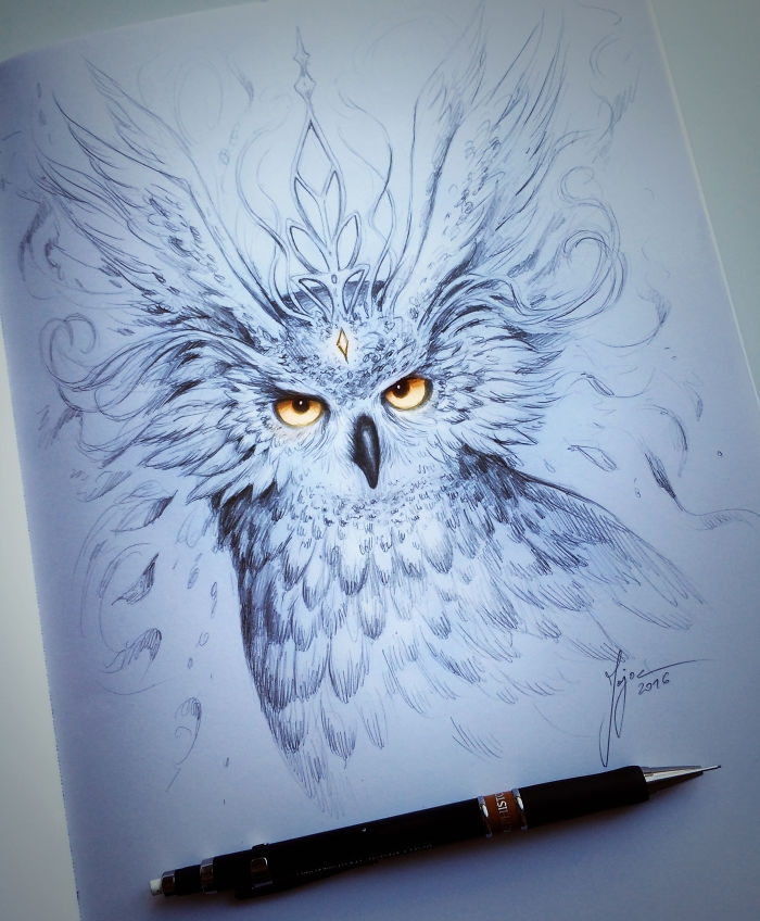 03-Owl-Jonas-Jödicke-jojoesart-Fantasy-Animal-Drawings-with-Souls-of-Nature-www-designstack-co