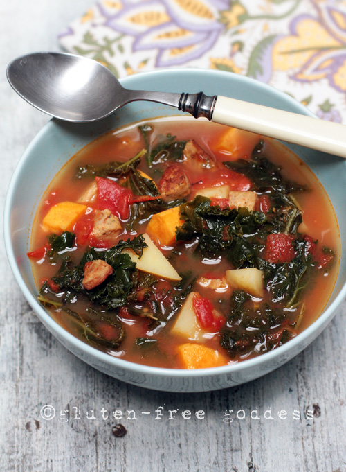 Spicy kale soup with sausage, sweet potatoes and gold potatoes. #glutenfree