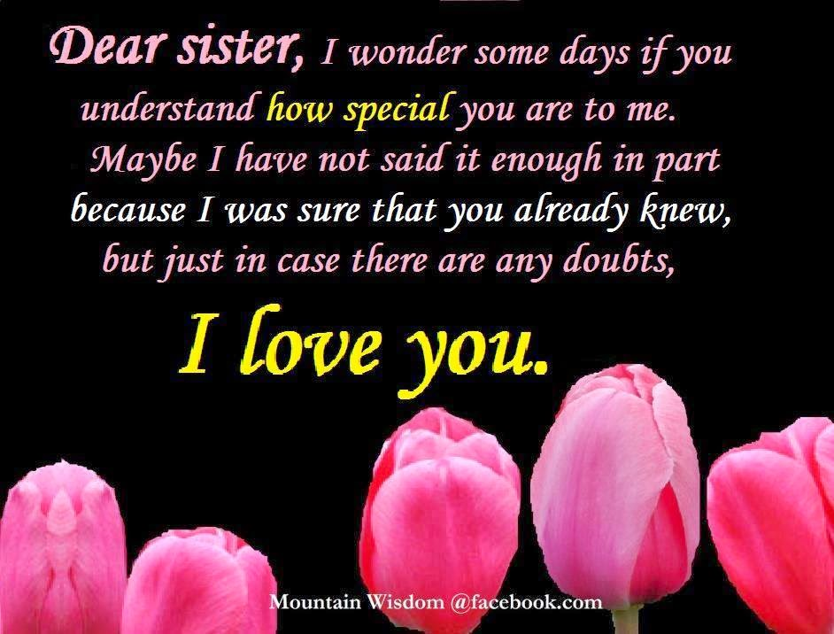 Daveswordsofwisdomcom My Sister I Love You