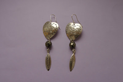 mexian silver earrings with pyrite boho chic