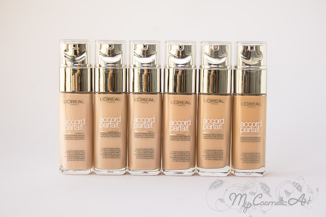base de maquillaje Accord Parfait de L'Oreal Swatches 18 tonos