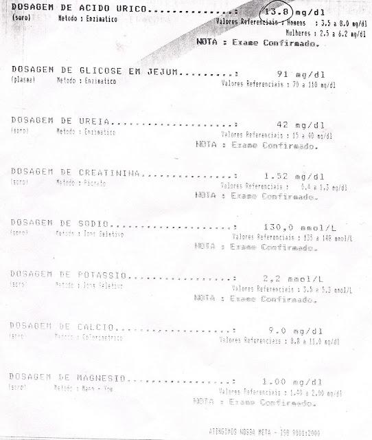 Resultado do meus exames (Paulo Rocha) feito no dia 27 de julho de 2003