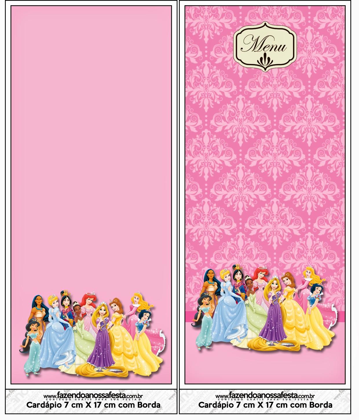 Menú de Princesas Disney para imprimir gratis.