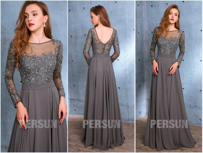 robe grise longue appliqué de dentelle guipure avec manche longue pour mariage