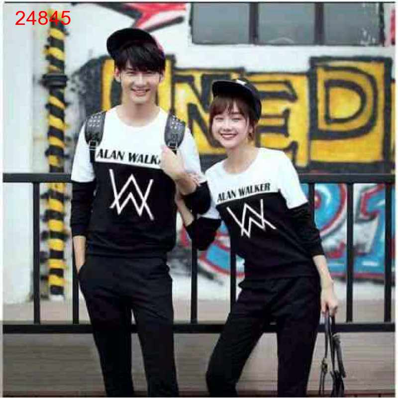 Jual Sweater Couple Sweater Alan Walker Duo White Black - 24845