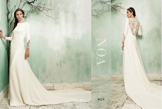 Vestido de novia de invierno con manga larga y encaje