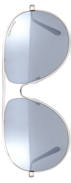 TOM FORD Cliff Light Ruthenium Aviator Sunglasses, Silver