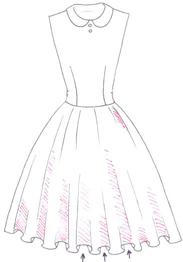 Cara Mudah Menggambar Long Dress Motif Bunga