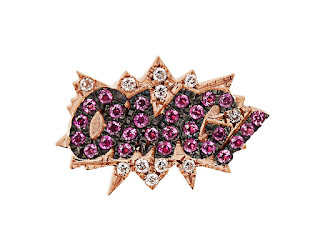Diane Kordas - Diamond, sapphire & rose-gold OMG! earring - Emoji Jewellery