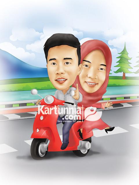 Karikatur couple naik vespa