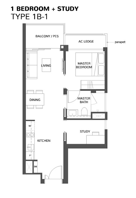 The Wisteria @ Yishun Floor Plan 1 Bedroom + Study