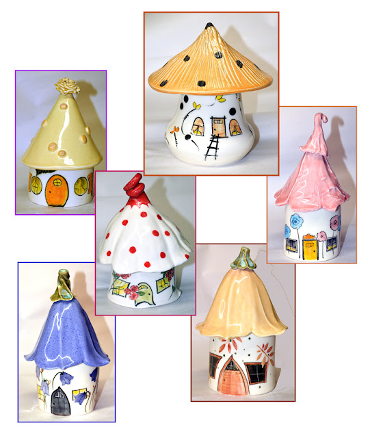 small pottery houses for Fairies in the garden