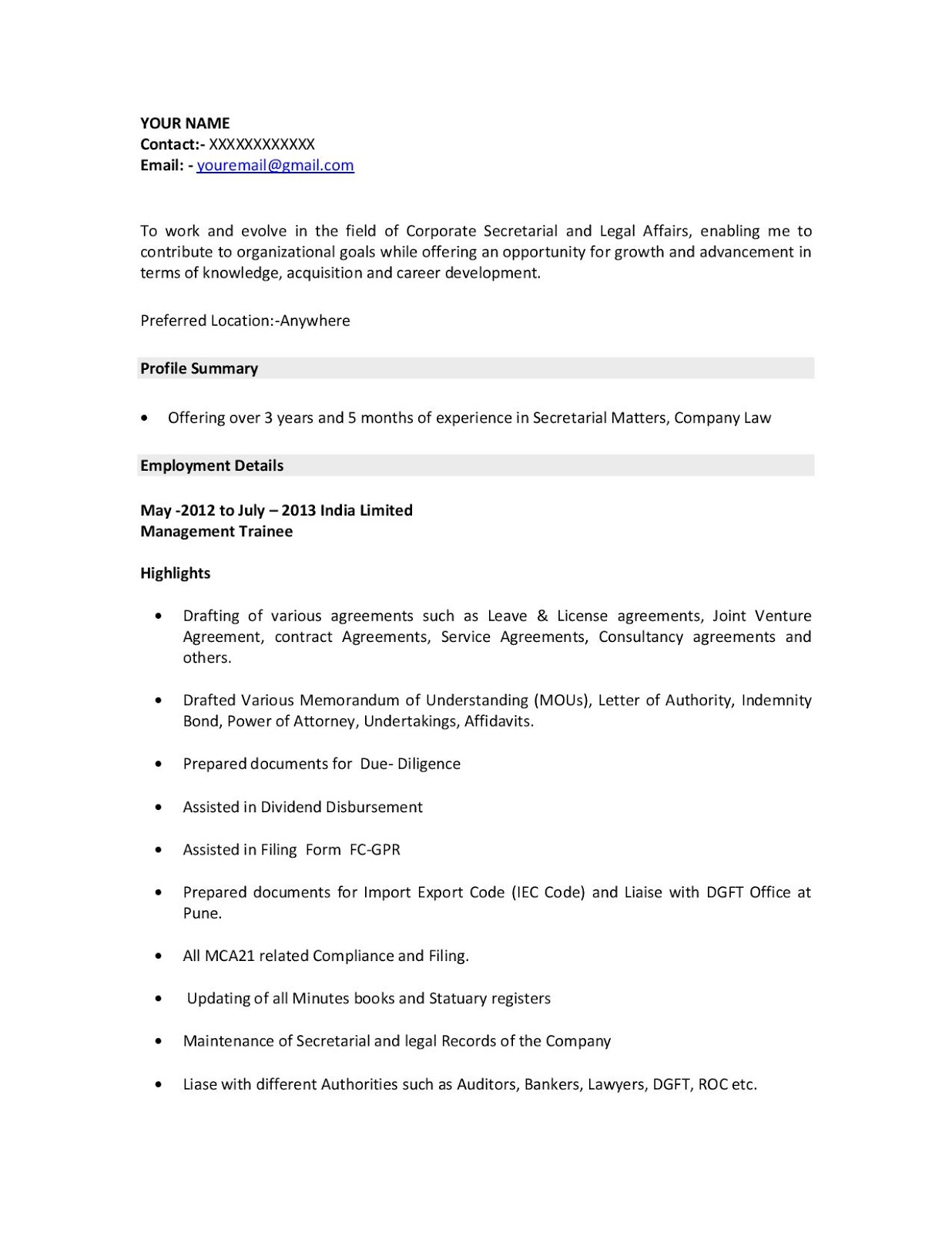 Company Secretary Resume Examples/Sample - Download In Word ...