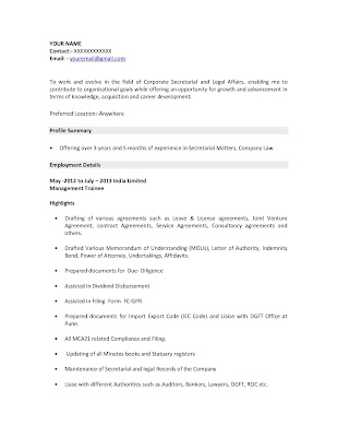Company Secretary Resume Sample 1