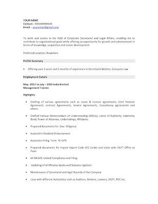 Icwa experienced resume