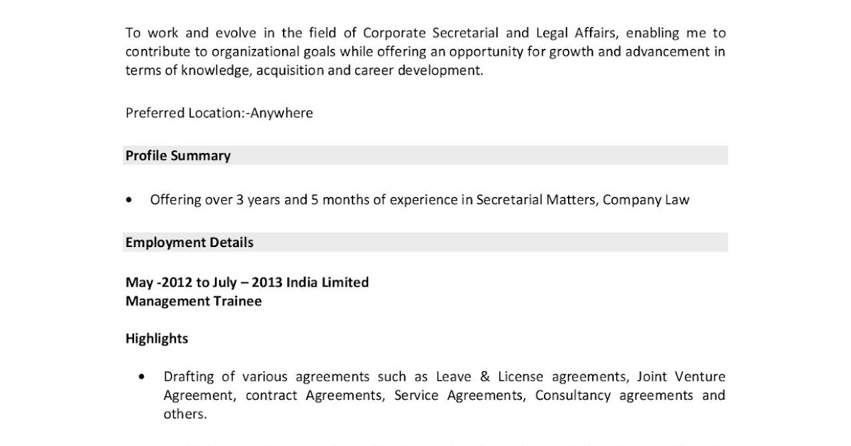 company secretary resume examples  sample