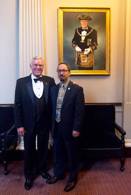 M.W. Richard Stewart, Past Grand Master of Massachusetts, and Travis Simpkins