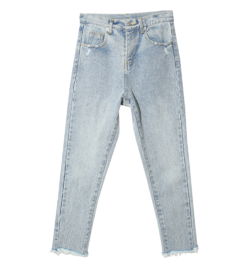 Fringed Hem Faded Jeans