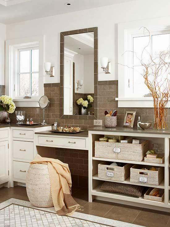 bancada da pia da cozinha -> Como Organizar Um Banheiro Com Banheira