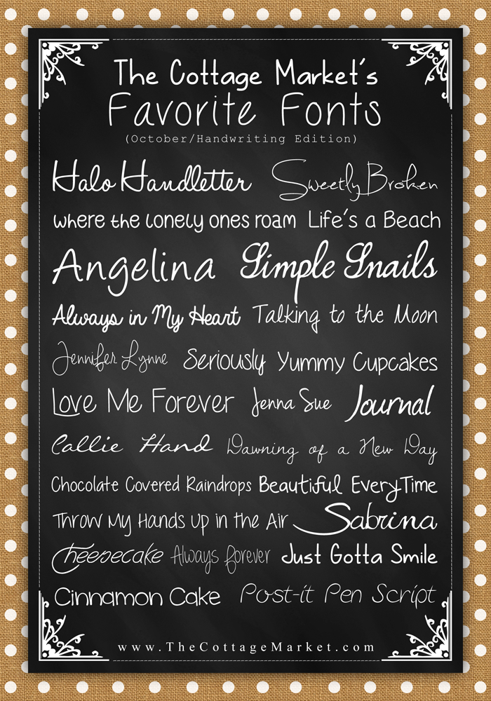 Free Fonts The Handwritten Edition The Cottage Market