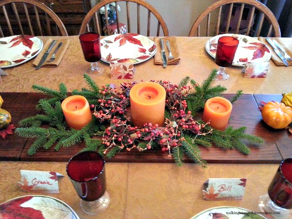 Thanksgiving Table and Centerpiece using bookshelves as a table runner form Walking on Sunshine.