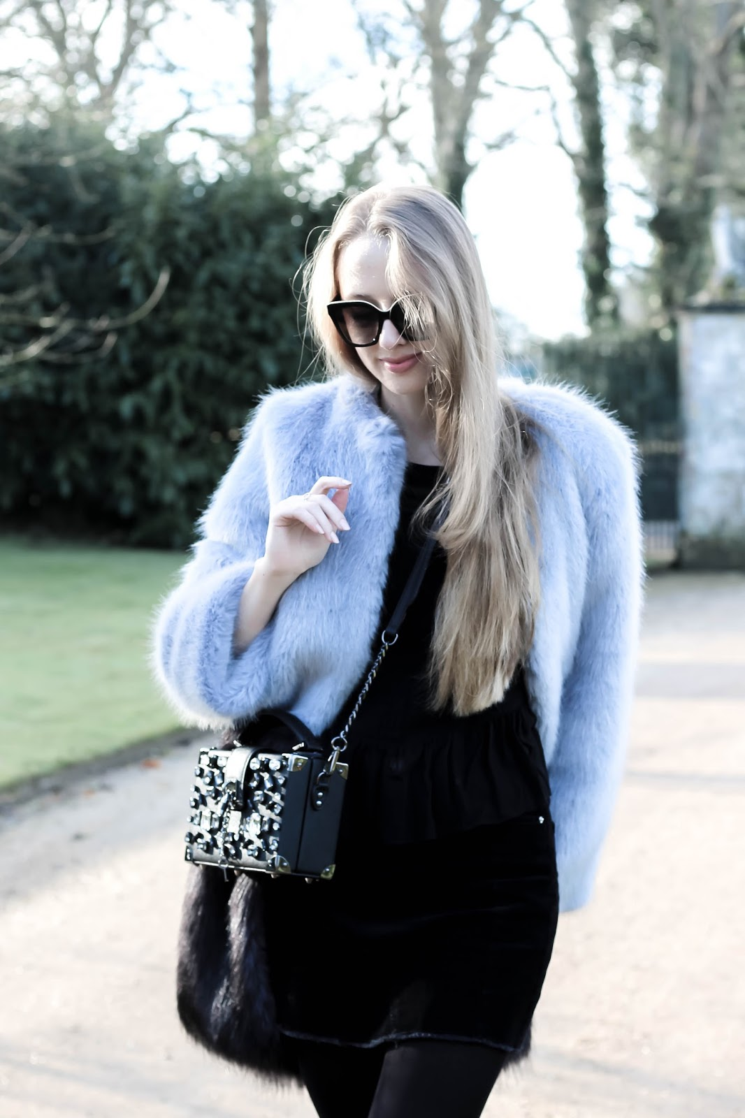 Faux Fur Coat and Embellished Bag Styling