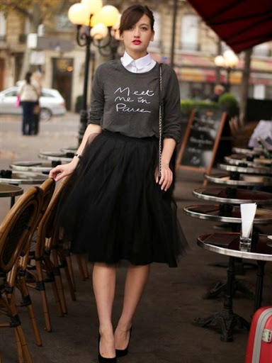 black high waisted tulle skirt