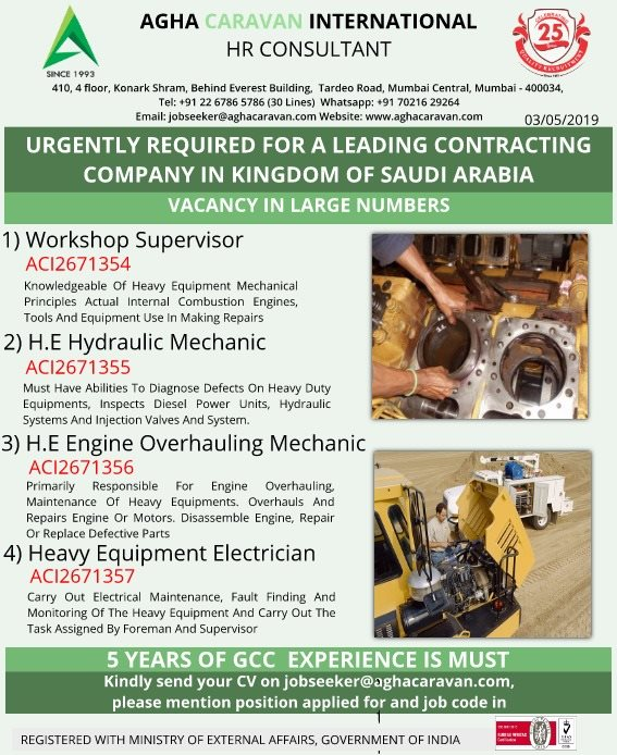 Urgently required for a leading contracting co in