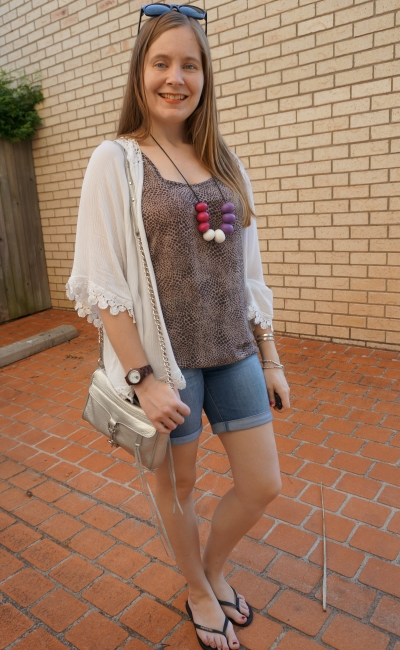 playgroup style OOTD crochet trim shein kimono jeanswest animal print tank bermuda denim shorts | awayfromblue