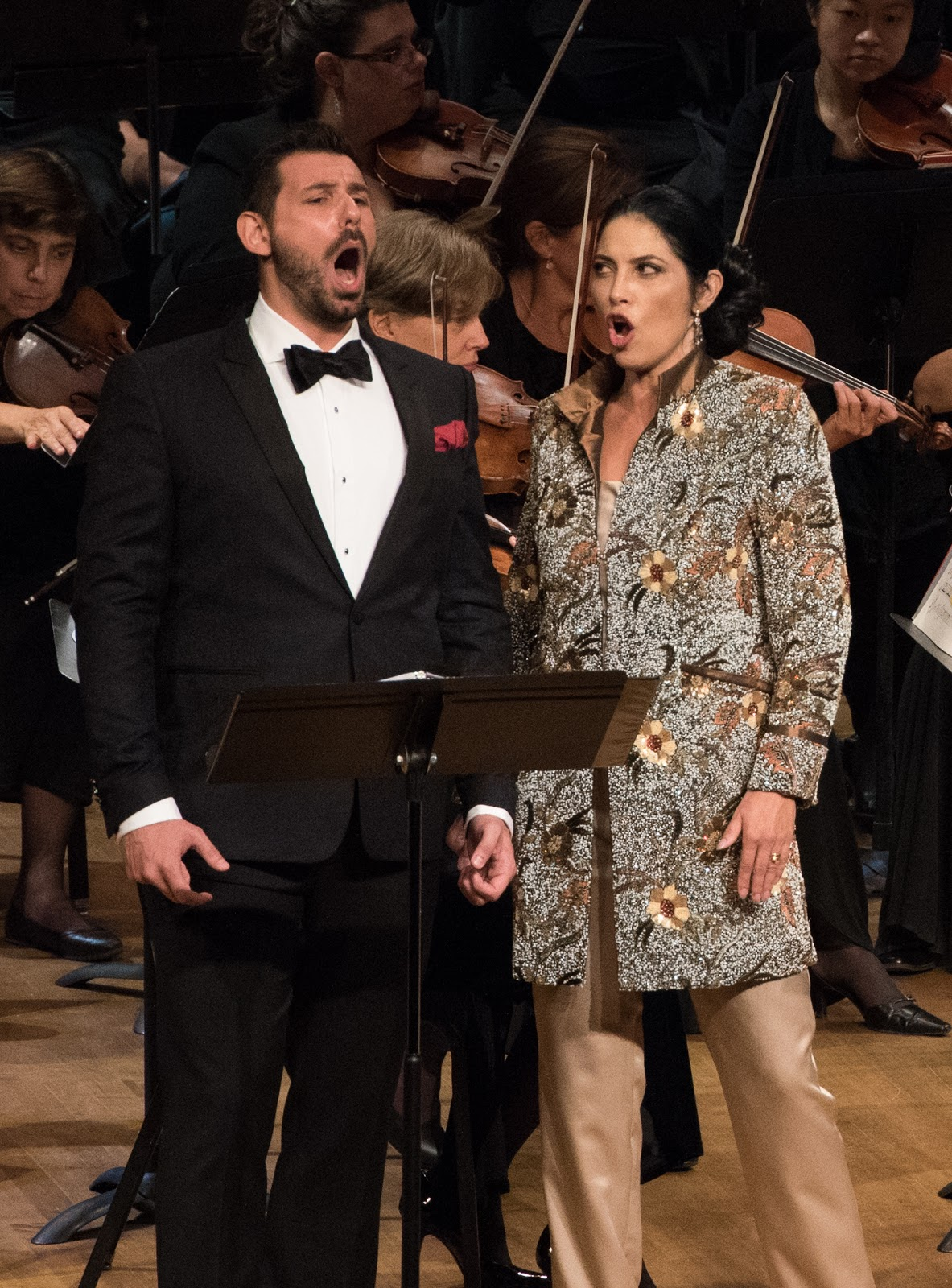 IN REVIEW: Tenor MICHELE ANGELINI and mezzo-soprano VIVICA GENAUX singing Gennaro's and Orsini's duet from Act Two of Gaetano Donizetti's LUCREZIA BORGIA in Washington Concert Opera's 30th Anniversary Concert [Photo by Don Lassell, © by Washington Concert Opera]