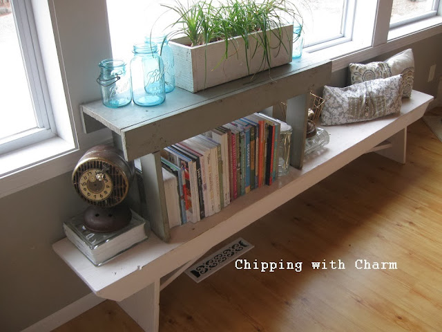 Chipping with Charm:  Stacked Bench Bookshelf...http://www.chippingwithcharm.blogspot.com/