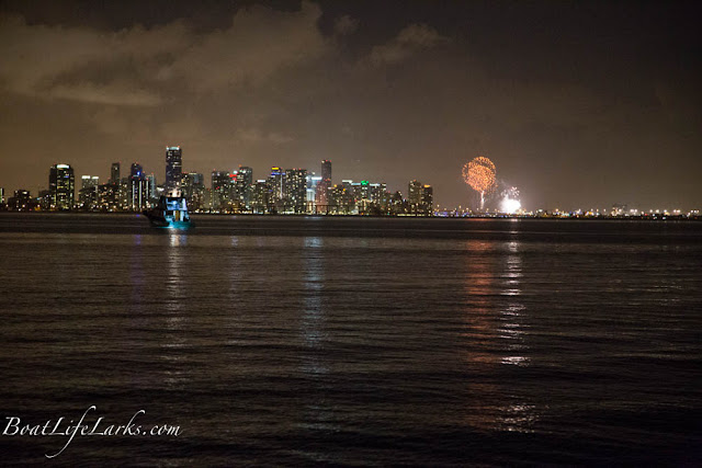 Downtown Miami fireworks seen from our boat